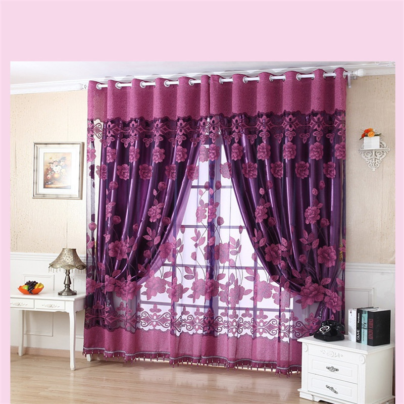 New Semi Shade Curtains Purple Rich Flowers Pattern Tulle Voile Door Window Curtain Drape Panel