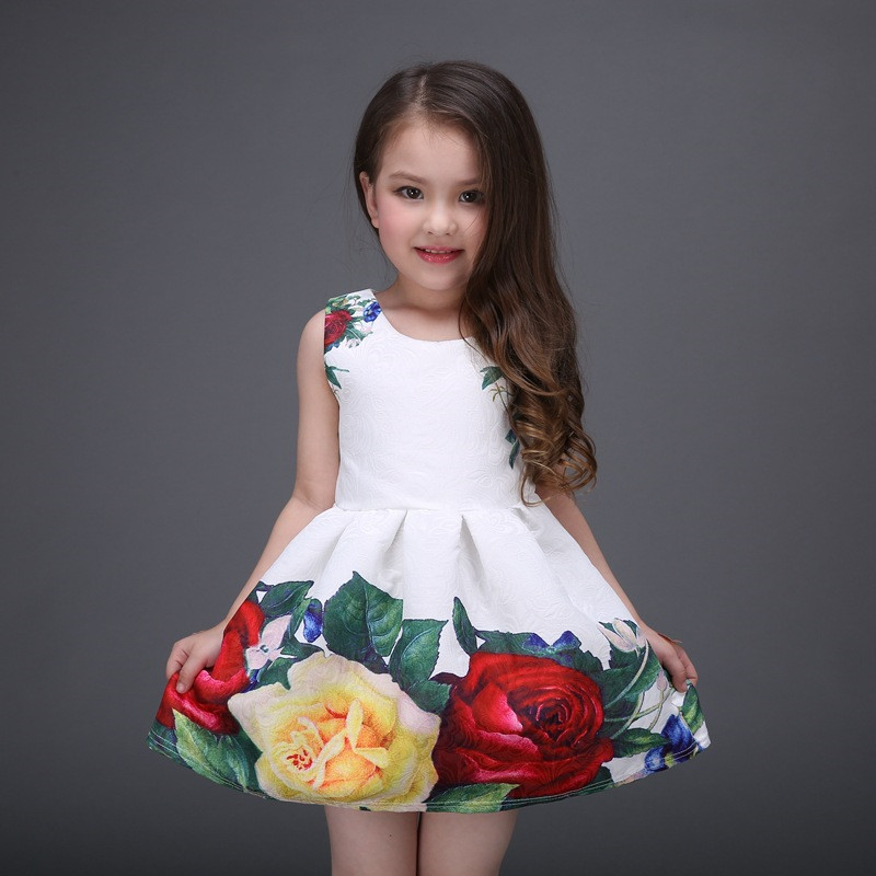 1958cd0fa0 Summer 2017 Baby Girls Tutu Dress European And American Style Floral Pattern  Sleeveless Cotton A Line At The Party Fashion Cute-in Dresses from Mother  ...