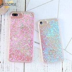 KISSCASE Quicksand étui pour iphone 5 5 s SE 7 6 s Plus étui mignon paillettes paillettes plastique couverture arrière pour iphone 7 6s 5 4 s
