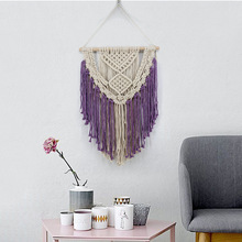 LYN&GY Purple Blue Black Macrame Wall Art Handmade Cotton Wall Hanging Tapestry Bohemian Hanging Decoration Best Gift cotton fringed handmade woven wall hanging art