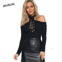 HIJKLNL women polo shirt 2017 new Valentine 's Day Black Cross Neck Cross Strap Long Sleeve Crotch Button Buttoned Shirt JX195