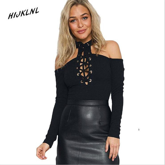 HIJKLNL women polo shirt 2017 new Valentine 's Day Black Cross Neck Cross Strap Long Sleeve Crotch Button Buttoned Shirt JX195