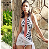 Woman One Piece Swimsuit Stripe Push Up Bodysuit Monokini Halter Bathing Suit Swimming Suit Slim Beach
