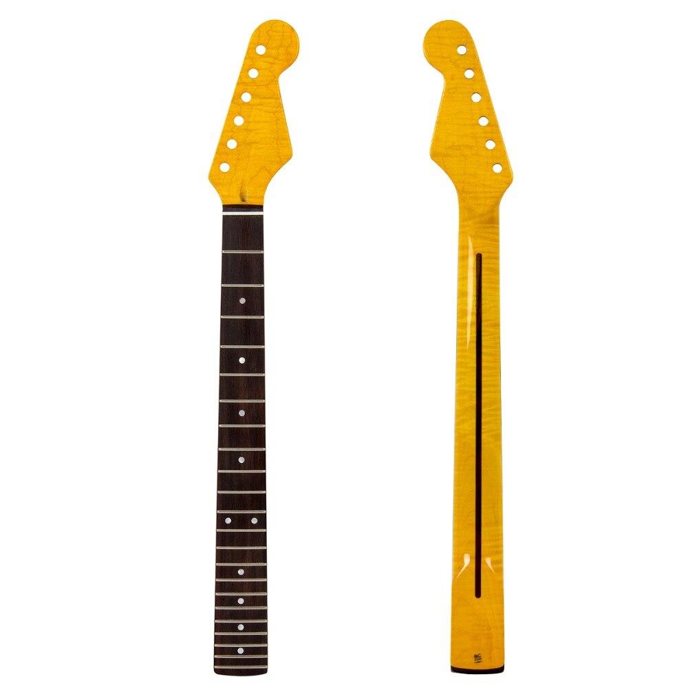Тигр Пламя клен шеи для электрогитары шеи Замена белая точка темнее желтый клен 22 лада палисандр гриф части