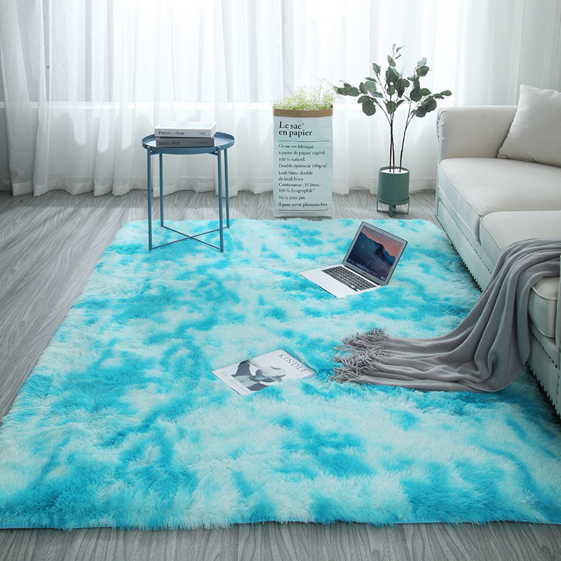 European Long Hair Fashion Bedroom Carpet Bay Window Bedside Mat Washable Personality Rug Gradient Color Living Room Blanket