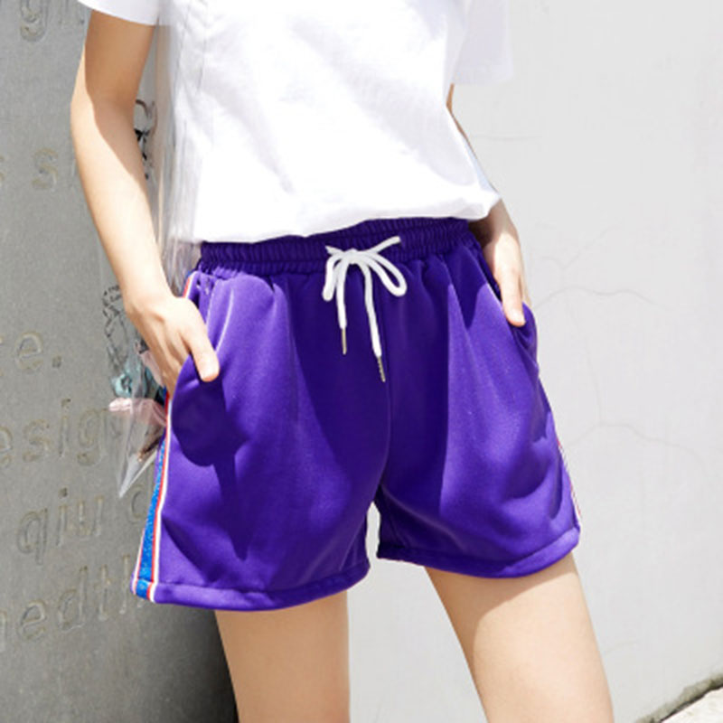 CUHAKCI Elastic Waist Striped Shorts Drawstring Women Shorts White Loose White Plus Size Shorts Sporting Girl Casual Short Pants