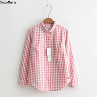 2017 Autumn Spring Fashion Student Plaid Shirts Women College Wind Cotton Women S Long Sleeve Shirt