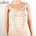 CHRAN Fashion Simple Multi Layer Faux Pearl Waist Body Chain Female Multilayer Statement Women Necklace Jewelry Bijous