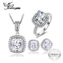 Jewelrypalace luminoso cubic zirconia jewelry set anillo colgante pendiente única marca 45 cm de cadena de plata esterlina 925 joyería fina