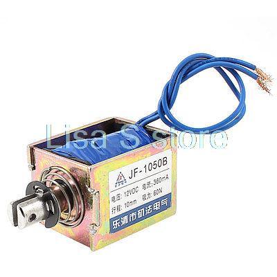 10mm Stroke 60N 6Kg Force Push Pull Open Frame Solenoid Electromagnet DC 12V 0.36A JF-1050B