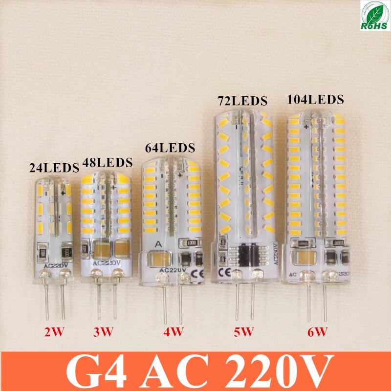 High Power LED G4 BULB  24 48  64 72 104 Led 3014 AC 220V Corn Bulb Lamp Warm White / White  25-35 Watt Halogen Replacement