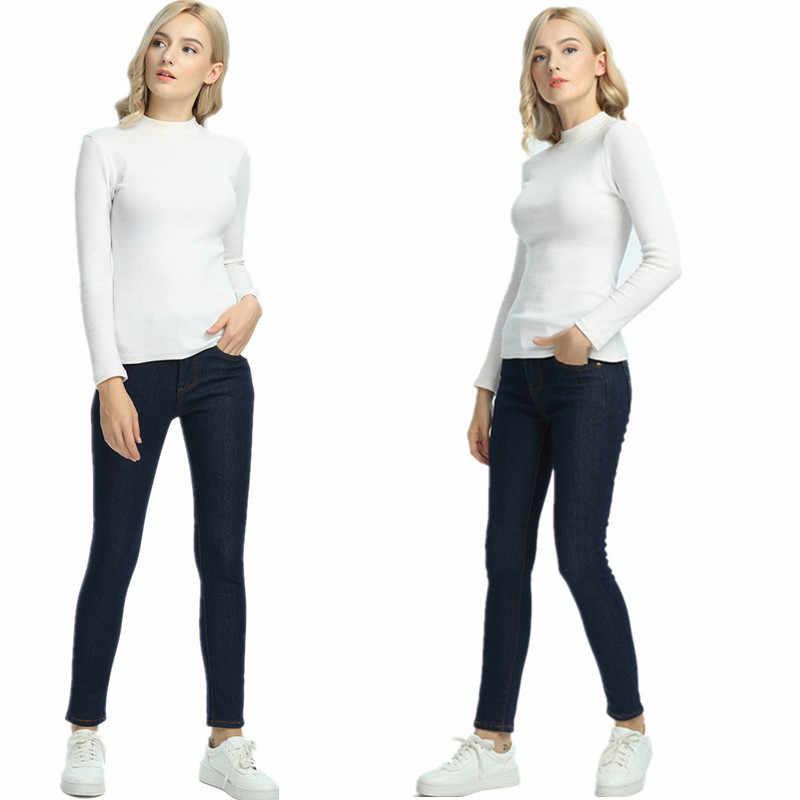 WKOUD 2019 Winter Jeans Vrouwen Gold Fleeces Binnen Verdikking Denim Broek Hoge Taille Warme Broek Vrouwelijke Sneeuw Jeans Broek P8018