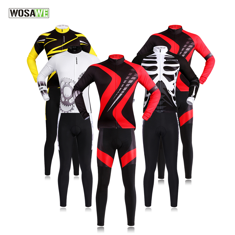 WOSAWE Pro Radfahren Kleidung Lange Hülse Jersey Set Atmungsaktive 3D Padded Sportswear Berg Fahrrad Bike maillot ciclismo Männer