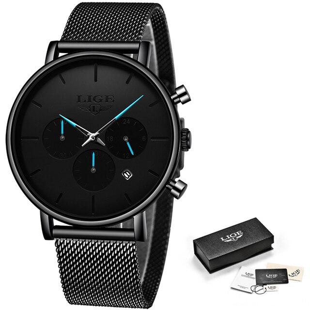 Relogio Masculino LIGE Mens Business Dress Watches Luxury Casual Waterproof Sports Watch Men Fashion Dial Quartz Slim Mesh Watch 5