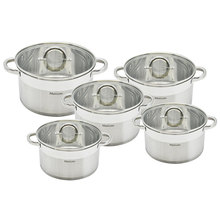 Mercury Haus 10PCS Stainless Steel Straight Shape Saucepan Casserole Pot Sets Cookware Sets Induction Bottom Cooker 7l 18 5l stainless steel deep casserole soup pot with glass lid and induction bottom