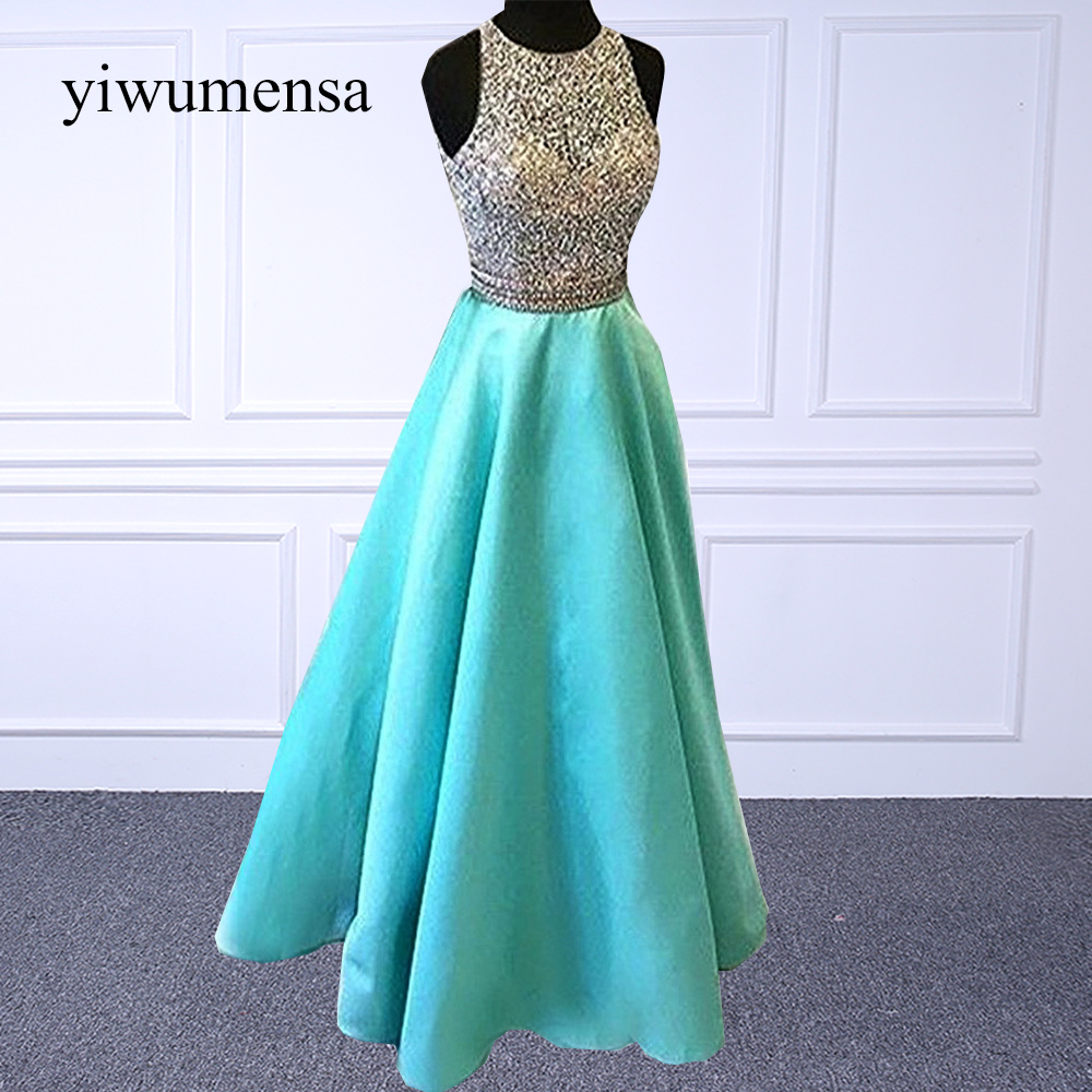 yiwumensa New   prom     dresses   evening 2018 Custom made Sliver Beaded Crystal Long   Prom     dress   Sexy Backless satin A line   Prom   gowns