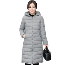 2017 Fashion Winter Long Coat Female Plus Size Women's hooded Down cotton slim Coats Woman Jacket Warm Winter snow parka QH0428