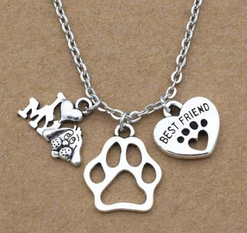 I Love My Dog Charm Dog Paw Print Best Friend Heart Necklace Pendant Vintage Silver Statement leather Necklace Women Jewelry image