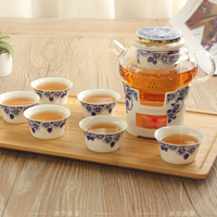 Free Shipping New Kung Fu Flower Tea Set With BambooTray Bone China Heat Resistant Glass Candle Heating Base Afternoon Tea
