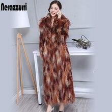 Nerazzurri Winter thick warm maxi faux fur coat women Extra long colorful shaggy hairy mongolian sheep fur Overcoat for women