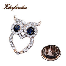 Fashion Hat Accessories Party Gift Retro Mini Owl Brooch Shirt Suit Collar Pin YBRH-0256(China)
