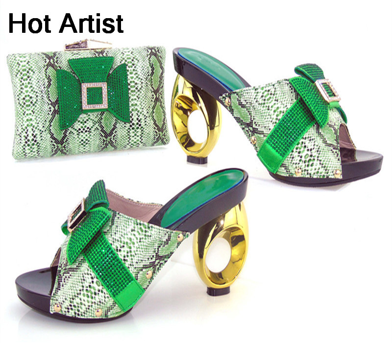 Hot Artist Italian Style PU Leather Shoes And Matching Bag Set High Quality Women Shoes And Purse Set For Party Size 37-43 hot artist high quality pu leather shoes and handbag set italian style rhinestone pumps shoes and woman bag set for party yk 185