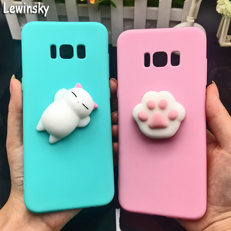 3D Squishy Cat Silicon TPU Soft Case For Samsung Galaxy A5 A6 A7 A8 2018 Candy Color Back Cover J3 J5 J7 2016 C9 Pro Phone Cases