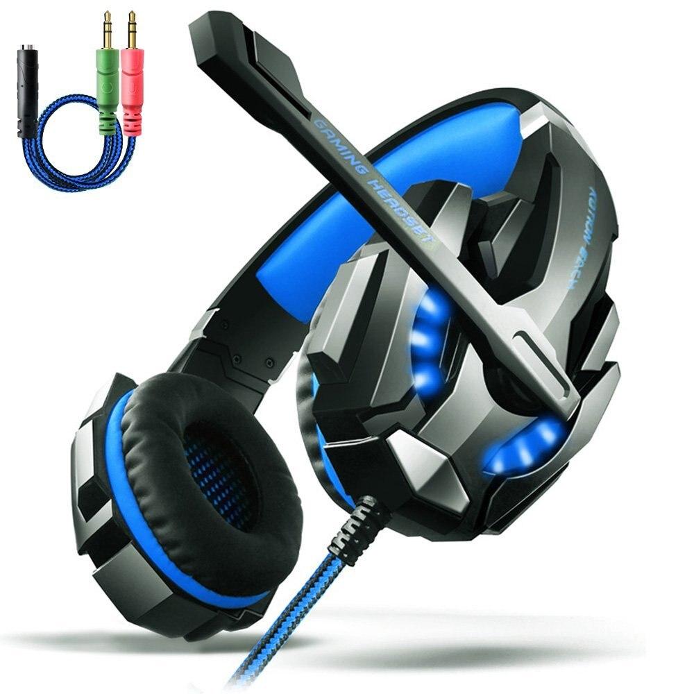 Cada g9000 pro gaming headphone headband jogo fone de ouvido microfone led luz 7.1 surround som casque para pc gamer fone de ouvido