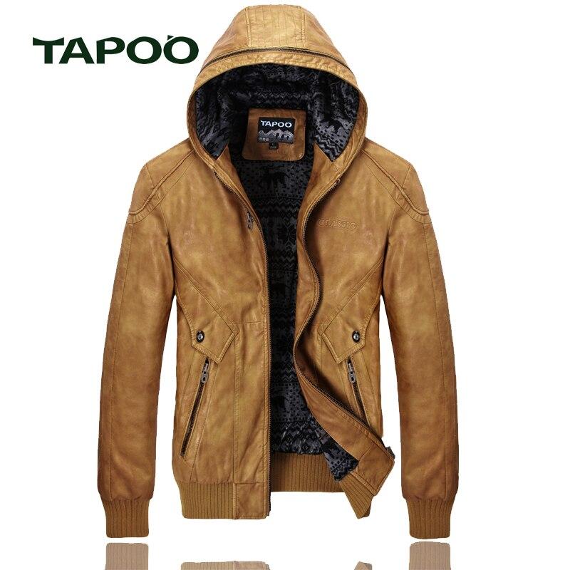 TAPOO 2017 hommes veste en cuir marque jaqueta de couro masculina moto veste bomber biker veste faux cuir manteau daim 828