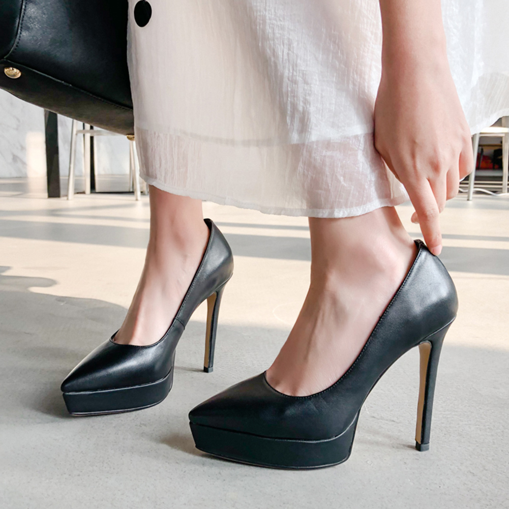 Classic Genuine Leather Sexy Thin Heeled Platform Party Wedding Pumps Women Shoes Elegant Slip On high heels Shoes Woman-in Women's Pumps from Shoes    2