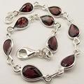 .  Silver RED GARNET FACETED Gem Bracelet 21.2 CM 7.4 Grams NEW