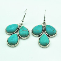 bag93 17 Leaves Flower stoneDrop Dangle Earring 1 Pair Natural Stone Jewelry Factory Price Vintage Look Antique Silver