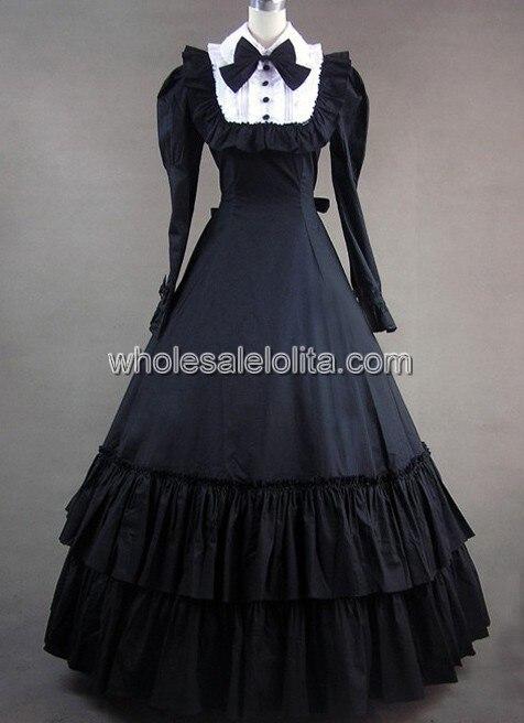 Винтажное викторианская готика платье с длинными рукавами - Цвет: Черный