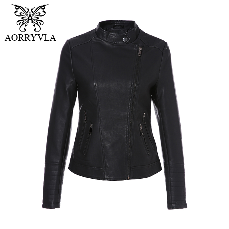 AORRYVLA 2019 Women's   Leather   Jacket Spring Autumn Black Color Soft PU   Leather   Coat Slim Short Female Zipper Motorcycle Jacket