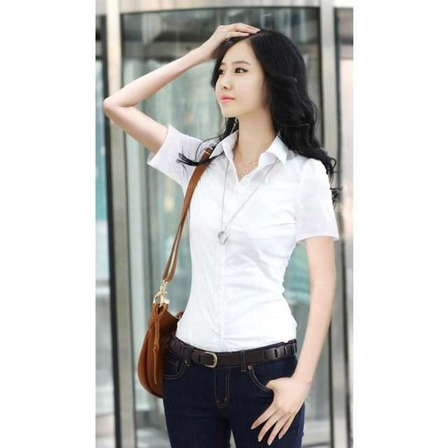 3b4902ccc5de € 3.65 19% de DESCUENTO Moda mujer OL camisa manga larga cuello vuelto  botón señora blusa Tops blanco negro S3 en Blusas y camisas de La ropa de  ...