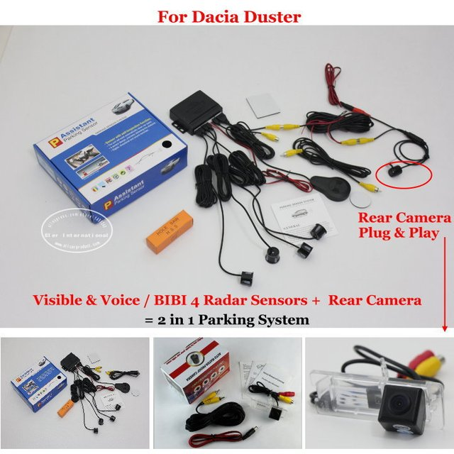 Liislee para Dacia Duster-Sensores de aparcamiento de coche + cámara de visión trasera = 2 en 1 Sistema de estacionamiento de alarma Visual/BIBI