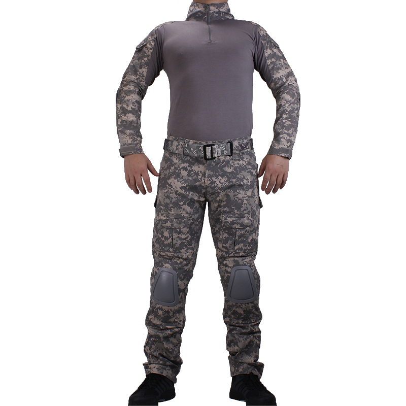 Camouflage BDU ACU Combat uniforms shirt with broek and elbow knee pads militaire game cosplay uniform