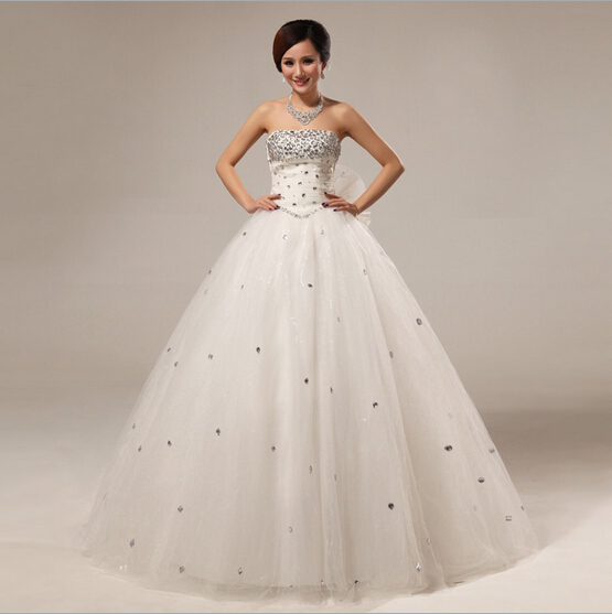 Vintage Design Ball Gown Crystal Strapless White Organza Wedding ...