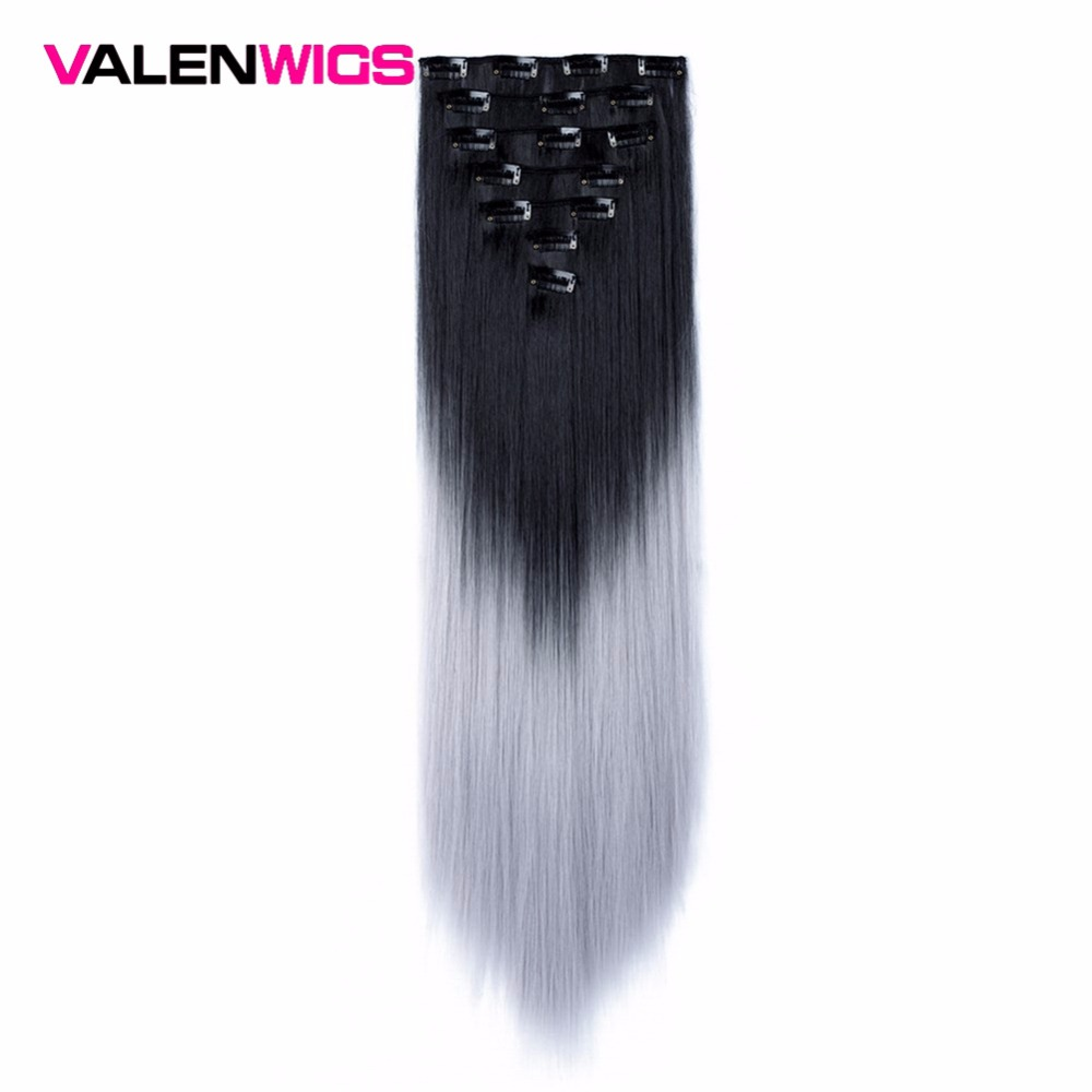 Valen Wigs Clip In Hair Extensions 22 Inch Straight Full Head Clip On Hair Extensions Ombre Synthetic Hair For Women 7Pcs/Set