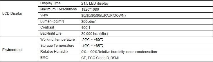 21.5 23.6 27 em Dual Core Intel