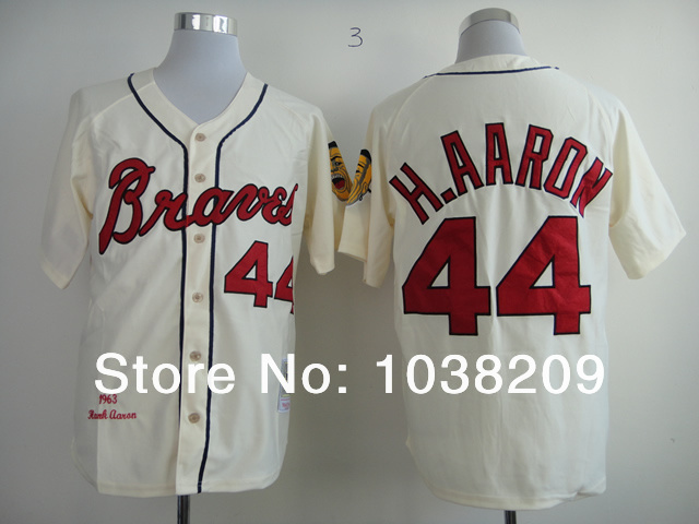 8263f8143 Free Shipping Milwaukee Braves Jersey  44 Hank Aaron Jersey White Cream  Retro Baseball Jersey