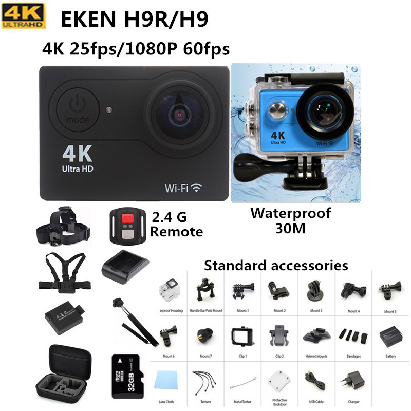 action camera  EKEN H9 / H9R remote Ultra HD 4K WiFi 1080P/60fps go waterproof pro cam 2.0 LCD 170D lens Helmet Cam 100% original eken h9r 4k ultra hd wifi action camera remote control go waterproof camera 2 0 1080p 60fps pro sportcam mini cam