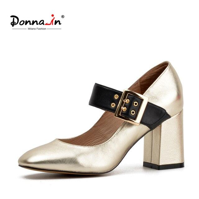 Donna-in-2018-Spring-Women-Обувь-остроносые-толщиной-высокий-Каблучки-Насосы-пряжки ремень- сандалии для девочек-удобная-блеск-Обувь для дамы