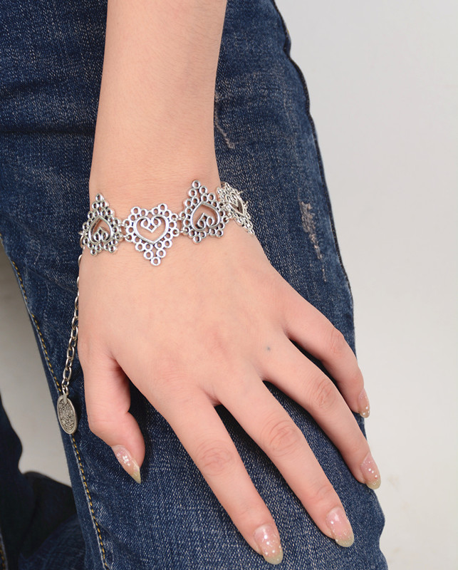 2018 New Fashion Charming Simple Silver Color Love Heart Bracelet ...