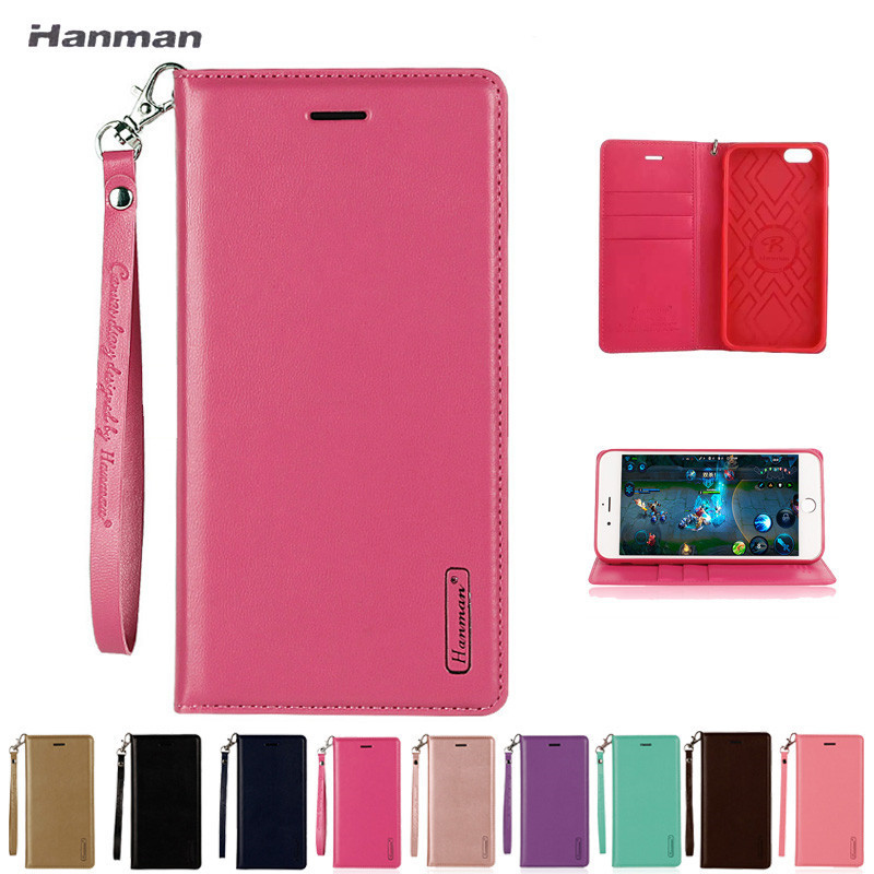 Hanman Luxury Flip Leather Wallet Case for iphone 5S SE 6 6S 7 8 Plus X XS MAX XR Flip Shell Cover Cases Back Stand Holder Etui