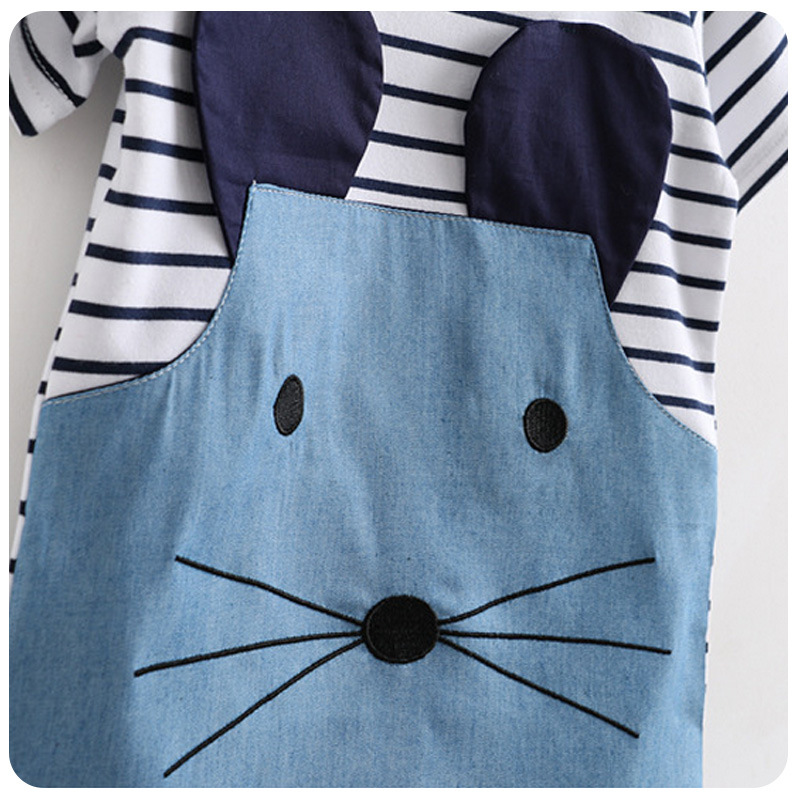 Kids Casual Dress Lollas Striped Girl Dress Patchwork Girl Party Dresses Sleeve Cute Mouse Children Clothing For Girls