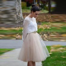 Light Champagne Tulle Skirt fashion style Knee Length Tutu Skirt With Lining Modest Skirts Women custom Multicolor optional