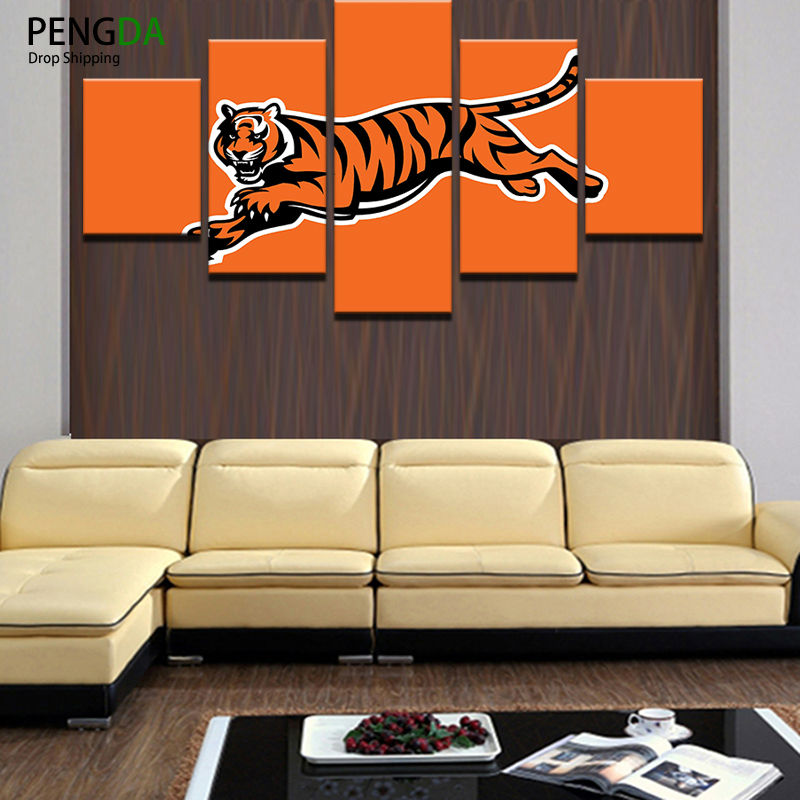 Canvas Abstract Painting Prints Wall Art Oil Poster Modular Pictures Frame 5 Panel Rugby Sports Football Home Decor Photo Pengda