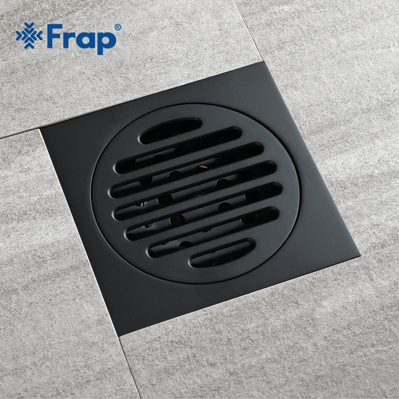 Frap Modern Black Waste Drainer Ordinary Bathroom Square Shower Floor Drain Trap With Hair Strainer Anti Smelly Drains Y38106 frap high quality modern style shower floor drain waste drainer bathroom kitchen cover hair shower catcher clean strainer y38103