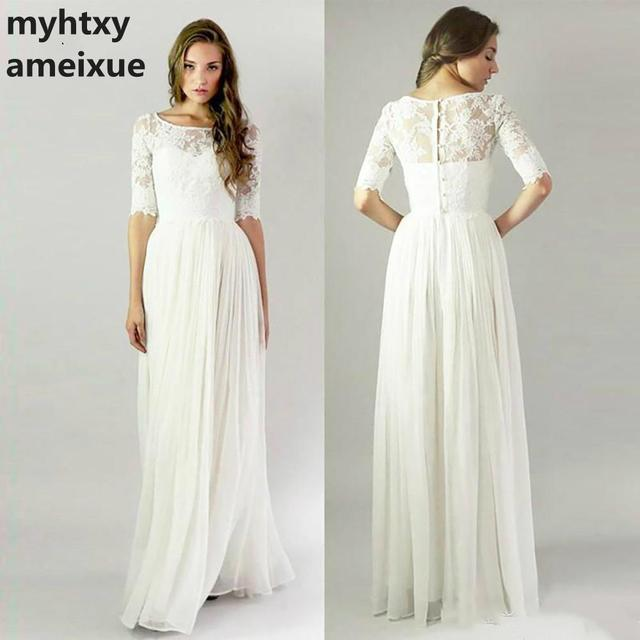 Simple Lace Wedding Dress 2018 Cheap Informal Bride Dress Half Sleeves  Buttons Bridal Gown Vintage Inspired Elegant Robe Bal d399e4f38